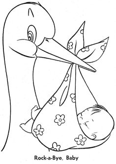The Stork and Baby. Baby Embroidery, Hand Embroidery Patterns, Embroidery Designs, Storch Baby, Coloring Book Pages, Digital Stamps, Baby Cards, Colorful Pictures, Baby Quilts