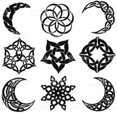 Celtic knot moons, stars, shapes royalty-free stock vector art