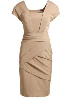 OL Style High Waist Nude Dress with Cap Sleeve | Rosewe.com