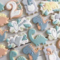 Cookies For Kids, Fancy Cookies, Cute Cookies, Royal Icing Cookies, Sugar Cookies, Dinosaur Cookies, Food Porn, Cookie Time, Dinosaur Birthday Party