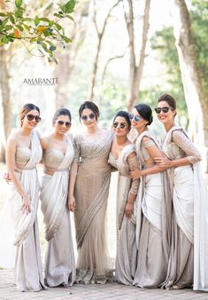 Indian Wedding guest fashion is a question that we answer for Indians and non-Indians alike. What to expect at an Indian wedding is lots of music, food and dancing. Wear your best anarkali, lehenga, gown and kurta for Mendhi and Sangeet, and the ceremony! Indian Wedding Bridesmaids, Indian Bridesmaid Dresses, Bridesmaid Saree, Wedding Sari, Bridesmaid Outfit, Punjabi Wedding, Wedding Gowns, Christian Wedding Sarees, Christian Bride