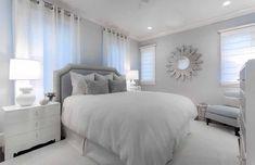 Light blue romantic feminine bedroom decor, Gorgeous cozy light blue transitional style bedroom decor with blue headboard bed