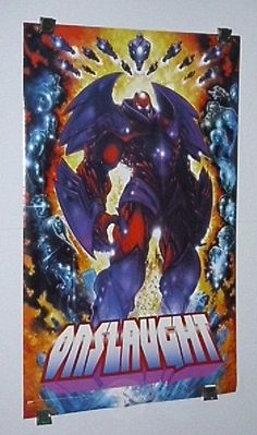 Marvel Onslaught X-Men poster: Avengers/Iron Man/Hulk/Spider-man/Captain America. SEE 1000's MORE RARE VINTAGE MARVEL AND DC COMICS SUPERHERO POSTERS AND COMIC BOOK ART PAGES FOR SALE AT SUPERVATOR.COM