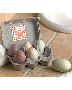 Egg Soaps from Gardener's Supply. ~What a perfect gift, and love the egg carton packaging!!