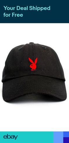 d824b9aeb17 Playboy Bunny Custom Unstructured Black Red Dad Hat Cap Hefner New Dad Caps