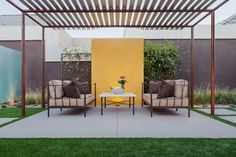 Contemporary metal pergola patio modern with outdoor cushions