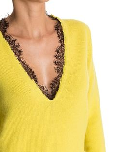 Картинки по запросу v neck black cashmere with lace sweater