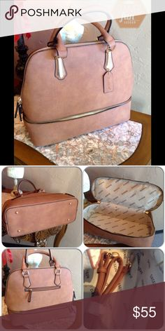 Brown Faux Leather Handbag This great  bag features two compartments. Lower half can be used for storage of makeup, or even snacks. Upper part is large enough to fit all necessary items. Zip closures both upper and bottom. Gold tone hardware, removable and adjustable shoulder strap, metal feet for protection, dust bag included, fully lined with two inside slip pockets and one interior zip pocket, one exterior zipper pocket. (This closet does not trade or use PayPal ) Bags Satchels