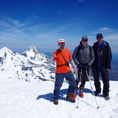 MOUNTAIN CRUSH MONDAY. We love where we live + work. This 'gram is from May, when EE owner John Grieser (center) summitted and skied Central Oregon's South Sister volcano.