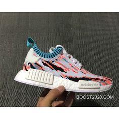 "468494b019a24 Women Men Outlet Tax Free Adidas NMD R1 PK ""Datamosh"" White Vapour  Steel Orange"