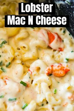 Seafood Recipes 54685 Lobster Mac and Cheese is a delicious seafood pasta recipe made with chunks of precooked lobster, mozzarella, cheddar and Swiss cheese. Lobster Mac N Cheese Recipe, Seafood Mac And Cheese, Lobster Pasta, Stovetop Mac And Cheese, Mac Cheese, Macaroni Cheese, Lobster And Shrimp Pasta Recipe, Mozzarella Mac And Cheese, Mac And Cheese Pasta