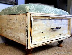 Old drawer ottoman with hinged top for storage by Beyond The Picket Fence via I Love That Junk