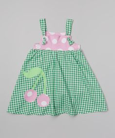 Love this Green Gingham Cherry Frolic Dress - Infant, Toddler & Girls on #zulily! #zulilyfinds