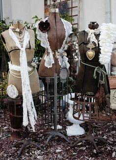 Lovely group of beautifully accessorized vintage dress forms