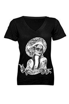 Rockabilly Pinup Beautiful Sugar Skull Lady Tattoo Art V Neck Black Tee http://www.amazon.com/dp/B00MG32VMO/ref=cm_sw_r_pi_dp_YNtbub1H60X02