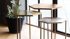 Buy the Set of Three Hexagon Metallic Nesting Tables at Oliver Bonas. We deliver Homeware throughout the UK within working days from Metal Furniture, Unique Furniture, Contemporary Interior Design, Interior Design Living Room, Sofa Table Design, Metal Side Table, Metal Tables, Coffe Table, Nest Of Coffee Tables