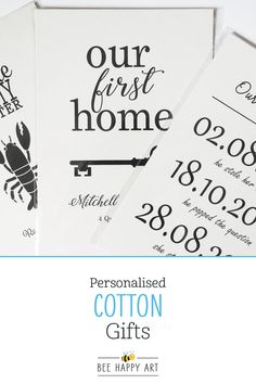 We offer a selection of personalised fabric prints, perfect for cotton years) and linen or 12 years) anniversary gifts! Available in 2 print sizes with black or white framing options for both: and 12 Year Anniversary Gifts, Cotton Anniversary, Cotton Gifts, Housewarming Gifts, Happy Art, Bee Happy, Couple Gifts, Printing On Fabric, Couples