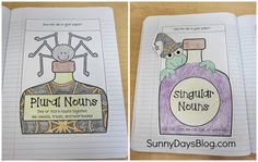 Halloween themed interactive Notebook Freebie for singular and plural nouns.free also has free thanksgiving themed verb page Third Grade Writing, 2nd Grade Ela, 2nd Grade Reading, Second Grade, Guided Reading, Pronoun Activities, Teaching Activities, Teaching Resources, Teaching Ideas