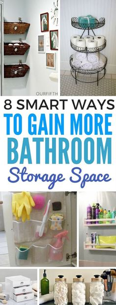 Smart ways to organize and gain more storage space for a small bathroom while on a budget. These FANTASTIC small bathroom ideas will show you EXACTLY what and how to store your things in a way that will make your bathroom look good!