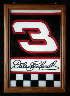 Dale Earnhardt  NASCAR Checkered Flag 3 Racing Racecar Window Art  faux stained glass