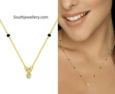 Check out these latest sleek and fancy mangalsutra designs with simple diamond pendants by Candere. These short and stylish nallapusalu necklace designs are suitable for daily wear as well as for office wear. Indian Jewellery Design, Indian Jewelry, Jewelry Design, Modern Mangalsutra Designs, Diamond Mangalsutra, Long Pearl Necklaces, Diamond Necklaces, Gold Bangles Design, Gold Jewelry Simple