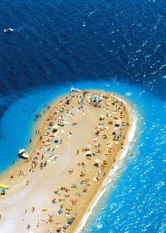 Island of Brac- one of the top 10 beaches in the world. The shape of the beach shifts with the changes in tide, currents and wind(btw, it's in Croatia!)