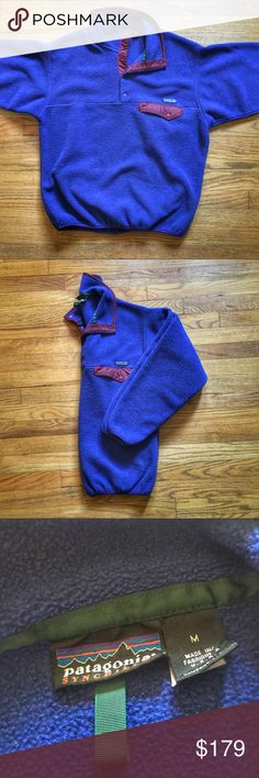 Vintage Patagonia 90's Era Snap-T Synchilla Fleece Vintage Patagonia 90's Era Snap-T Synchilla Fleece Pullover Jacket.  Size medium.  Pre-owned in excellent condition.  Colors are a sharp blue with maroon, purple and green accents. Get it cheaper on G®ailed & Ⓜ️erc.  See something you like but it's not here next week? We sell in store and across multiple platforms, so items go quick! If you're interested, act on it before you lose it! Patagonia Jackets & Coats