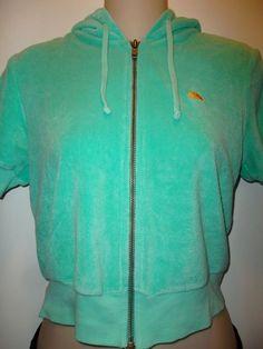 C&C California Zip Short Sleeve Hoodie Terry Crop mint Green XS cropped 0 00…