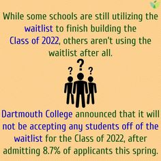 Follow our #CollegeAdmissions Blog for more #ClassOf2022 #waitlist info. #Dartmouth #CollegePrep #HigherEd #AspireApplyAchieve Dartmouth College, College Admission, Thursday, Fun Facts, How To Apply, Student, Thoughts, News, School