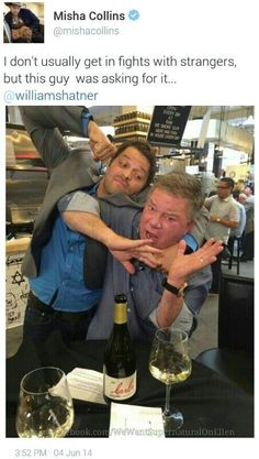 """William Shatner and """"Cupcake"""". Richard Speight, Jr. said that when news broke that Misha got mugged, Shatner :blew up"""" Richard's phone with worried DMs. Later Shatner tweeted that he'd heard from """"BooBoo"""" and that he was doing just fine. It's cute that he was so worried about the man he calls """"Cuppers."""""""