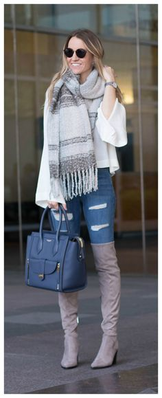 Over The Knee Boots // Henri Bendel Bag // Bell Sleeve Blouse // Perfect Winter Outfit
