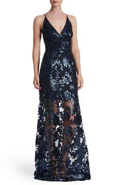 Dress the Population 'Vivienne' Sequin Lace Gown