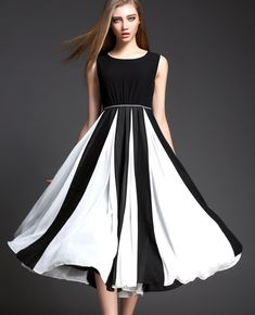 Black And White Striped Dress High Waist Patchwork Tank Casual Dress Sleeveless Prom Dress Stores, Cheap Prom Dresses, Streetwear Mode, Streetwear Fashion, 2 Piece Prom Dress, Beaded Prom Dress, Fashion Forever, Stripes Fashion, Types Of Fashion Styles