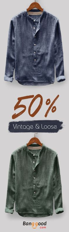 TWO-SIDED Men's Vintage Loose Comfy Solid Color Button Fly Stand Collar Long Sleeve Casual T-shirts love skulls get your skulls. Casual Shirts For Men, Men Casual, Cool Outfits, Casual Outfits, Mens Fashion Wear, Men's Fashion, Costume, Mens Clothing Styles, Swagg