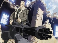 Batou from Ghost in the Shell doing what he does best ;)