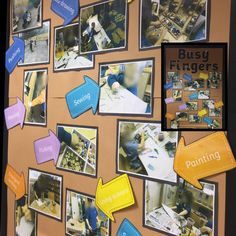 Busy Fingers display behind the Finger Gym. Photographs of fine motor activities.