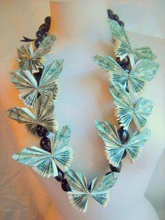 Celebration Hawaiian Butterfly Money Lei Time by Timeraveler Money Lei, Money Origami, Graduation Leis, Graduation Regalia, College Graduation, Money Flowers, Gift Cards Money, Flower Lei, Butterfly Gifts