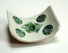 Green soap dish,pottery dish,clay ring dish,pottery spoon rest,fir tree design dish,geometric soap dish,stoneware dish