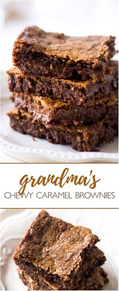 Grandma's Chewy Caramel Brownies - These rich, dense and decadent caramel brownies are made with a German chocolate cake mix, caramel candies and lots of love. Best brownies ever, just ask the grandkids!