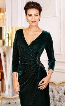 velvet dress gathered at side