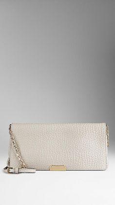 Medium Signature Grain Leather Clutch Bag from Burberry
