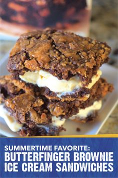 This summer is going to be a scorcher. Beat the summer heat with these Butterfinger Brownie Ice Cream Sandwiches. Rich, moist chocolate brownies come together with creamy vanilla ice cream to create a summertime favorite that's just begging to be eaten by the pool. Try using crushed Butterfinger candy bars in this easy dessert recipe to get that crispety, crunchety, peanut-buttery taste that you know and love.