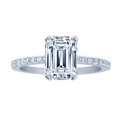 REAL EMERALD CUT DIAMOND PAVE ENGAGEMENT RING 1.35 CARAT GAL CERTIFIED, $2500, 03/16, clarity enhanced, centre stone 0.9 ct