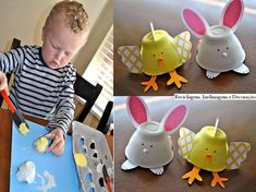 Easter-craft ideas-Egg carton chicks and bunnies Cup Crafts, Easter Crafts For Kids, Diy For Kids, Arts And Crafts, Diy Ostern, Spring Crafts, Animals For Kids, Small Animals, Projects To Try