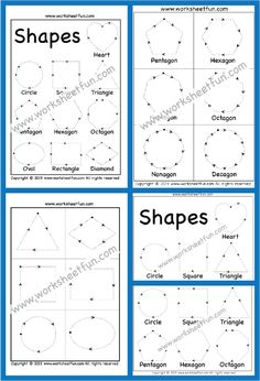 Shape Tracing Worksheets, Shape Worksheets For Preschool, Summer Worksheets, First Grade Worksheets, Kindergarten Math Worksheets, Free Printable Worksheets, Writing Worksheets, Kids Learning Activities, Motor Activities