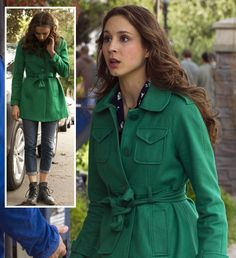 Spencer's green coat on Pretty Little Liars.  Outfit details: http://wornontv.net/16954/