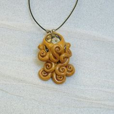 Brass Steampunk Octopus Necklace - Polymer Clay Jewelry