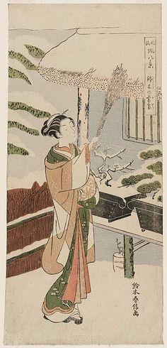 Twilight Snow of Hachinoki (Hachinoki no bosetsu), from the series Fashionable Eight Views of Noh Plays (Fûryû utai hakkei)