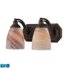 Bath And Spa 2 Light LED Vanity In Aged Bronze And Creme Glass 570-2B-CR-LED