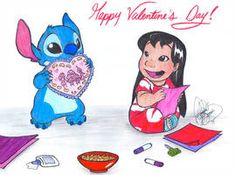 Lilo and Stitch creating their own special Valentine cards. Lilo and Stitch Valentine cards Nerdy Valentines, Valentine Special, Valentine Cards, Lilo And Stitch, Love You So Much, Smurfs, Something To Do, Minnie Mouse, Disney Characters